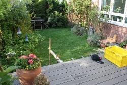 Vorher Ansicht von Terasse in den Garten